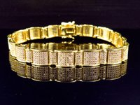 arctic chain - Simulated Diamond Arctic Wall Link Bracelet Finished In Yellow Gold Finish mm