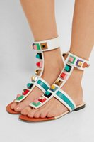 Wholesale Black Women s Embellished Gladiator Sandals thong strap colorful stone shoes lady buckle strap pyramid studs and faceted jewels flat sandal