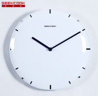 Wholesale Kitchen wall clocks cm frameless glass contracted candy color plastic modern clocks Creative household GEEKCOOK personalized wall clock