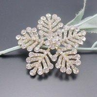 al por mayor broche de oro del copo de nieve-Gran broche de invierno claro cristalino blanco del copo de nieve del Pin de Oro de tono, Artículo No .: BH7532