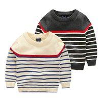babies knitwear - 2016 Kids sweaters baby boys striped Pullover children Autumn winter o neck cotton soft knitwear gray beige