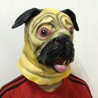 adult bulldogs - On Sale New Bulldog Mask Cosplay Animal Head Party Masks Full Face latex dog Mask Cute Halloween Mask