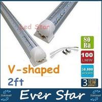 Compra Cree llevó la garantía-En forma de V 22W refrigerador de luz LED T8 Tubos 2 pies 0,6 m LED integrado luces Tubos CA 110-240V garantía 3 años