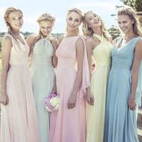 Wholesale 2016 Different Styles Floor Length Long Cheap Bridesmaid Dress Custome Made Chiffon Beach Wedding Guest Dress Vintage Party Gowns