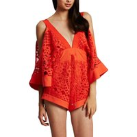 alice lace - 2016 Summer Kimono Sleeves Low V Neck Lace Alice McCall Playsuit Orange Shorts Romper Jumpsuit Sexy Women Overalls Combishort