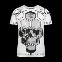 bianco white - 2016 men RARE Philipp skull print T shirt Jersey Short Sleeve T Shirts White New with tags M L XL XXL Philipp Uomo Cotone Bianco Gray New