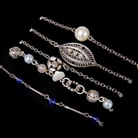 acrylic leaf beads - 5Pcs Set Vintage Jewelry Simulated Pearl Crystal Bracelet Rhinestone Beads Hollow Out Leaf Bracelet For Woman Jewelry DHB252