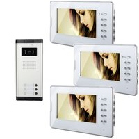 video door entry system - Xinsilu Wired inch Video Door Phone Intercom Entry Access System for Apartment Ont to Three video doorphone
