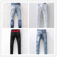 Wholesale Hot Sale Designer Biker Jeans for Men Elastic Ripped balmain jeans High Quality Winter Warm Skinny Jeans Denim Brand Clothing Plus Size