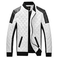 Wholesale Fall New Leather Jacket Mens PU Leather Motorcycle Jacket Stand Collar Quilted colors Men s Jacket Plus SizeM XLblack white