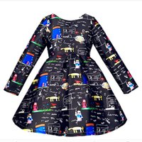 Wholesale 2016 Winter Long Sleeve Girls Dresses Kids Clothes Cartoon Girl Graffiti Dress Little Girls Princess Satin Children Clothing y Zk0809