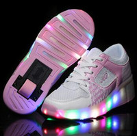 roller skate shoes - New Child Heelys Jazzy Junior Girls Boys LED Light Heelys Roller Skate Shoes For Children Kids Sneakers With Wheels pink