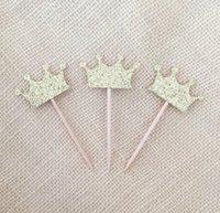 Baratos Navidad Antiguos Oro Glitter Corona Cupcake Toppers boda Princesa Cumpleaños de la fiesta de bienvenida al bebé, Decoración de fiesta Mesa de postres