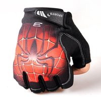 Wholesale Unisex Anti skid Spiderman Half Finger Gloves Outdoor Cycling Bicycle Motorcycle Sports Skiing Riding Dumbbell Gloves LJJP38