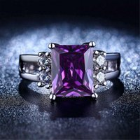 big purple rings - Fashion purple Amethyst Rectangular big stone Silver Rings For Women white gold plated bague female jewelry rings alliance L313