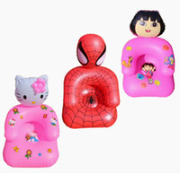 Wholesale Kids PVC Inflatable Lazy Sofa Children Playroom Cartoon Couch Chair Seats Inflatable Air Sofa Minnie hello kitty Cartoon spiderman Seat