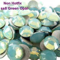 Wholesale ss8 mm Green Opal Flat Back Non hotfix Rhinestones Glue On Crystal Stones for Nail Arts