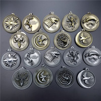 alloy badge materials - 2016 New arrival Game of Thrones theme Keychain Multi Badge Optional Zinc Alloy Materials Creative Promotional Gifts VINTAGE STYLE