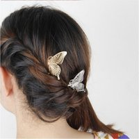Wholesale hair jewelry Women Gold Silver Plated Wedding Hair Jewelry New Fashion Elegant Exquisite Alloy Butterfly Hair Combs Drop Shipping SHR398