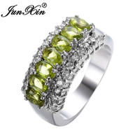 Wholesale JUNXIN Size Women Peridot Sapphire Finger Rings KT White Gold Filled Ring European Style B0841