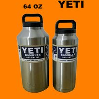 stainless steel double wall bottle - 64oz Yeti Coolers Warmer Rambler Bottle Double Wall Stainless Steel Cup with Yeti Lid Water Bottle