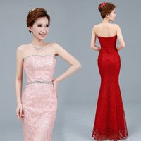 Wholesale Sexy Sequins Lace Mermaid Bridesmaid Dress Sweetheart Strapless Evening Dress Long Party Prom Dresses XA0251