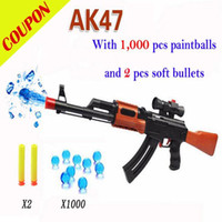 Wholesale PAINTBALL GUN SOFT BULLET GUN PLASTIC TOY PISTOL AK47 CS GAME SHOOTING WATER CRYSTAL GUN NERF AIR SOFT GUN MILITARY MODEL