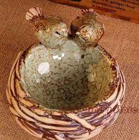 Wholesale European pastoral style ashtray Creative nest ceramic ashtray Personalized bird home decoration great gift