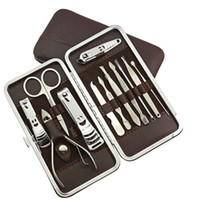 Wholesale 12 Mini Pedicure Manicure Set Nail Cuticle Clippers Cleaner Grooming Case Tool Beauty Care Set Stainless Steel Tool