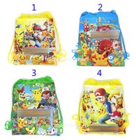 bag school cartoon - Poke go Pikachu drawstring Bags style Free DHL Children cartoon Jeni turtle Sylveon Poke Ball Backpacks non woven fabrics School Bags B001