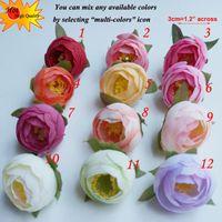 craft supplies - 100pcs Artificial Flowers Silk Camellia Tea Rose Heads Decorative Flowers DIY Craft Supplies Of Wreath flores artificiais