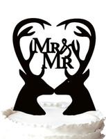al por mayor mr doble-Silueta alegre de los Deers de la torta de boda gay con la escritura Sr. y Sr. en el corazón, color 37 para la opción Envío libre
