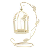 Wholesale Great Gift Classic Metal Vintage Bird Cage Tealight Stand Hook Lantern Hanging Candle Holder Table Wedding Decor