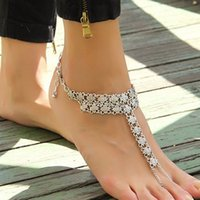 Wholesale Beach Wedding Anklets Barefoot Sandals Cheap Fashion Shining Crystals Beach Barefoot Sandals Beach Wedding Accessories Body Jewelry