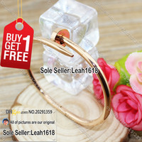 Wholesale Nail Bracelet Pink Gold Nail Cuff Bangles Fashion Jewelry Brand Women Men L Titanium Steel And Rose Gold Plated With Box Set