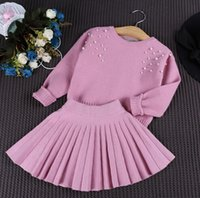 cotton batting - Kids Summer New Girls Ladies Beaded bat sleeve knit shirt pleated skirt two piece