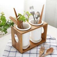 Wholesale Originality Bamboo Wood Ceramic Tableware Storage Rack Kitchen Fork Spoon Chopstick Collect Box