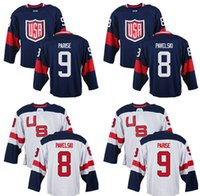 Wholesale Custom Mens Team USA T J Oshie Patrick Kane Justin Abdelkader World Cup of Hockey Olympics Game White Jerseys