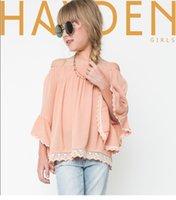 Cheap Big Girls shirt summer children shoulder lace falbala sleeve shirt kids princess tops children cotton linen shirt 7-14T kids clothes A8577