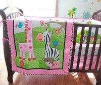 Wholesale 2016 Pink Cotton Embroidery Bird Flowers Zebra Giraffe Baby Bedding Set Quilt Bumper Skirt Mattress Cover Crib Bedding Set