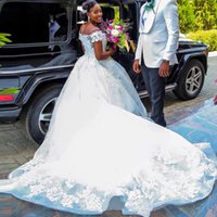 arabic wedding dress designers - Luxury African Arabic Ball Gown Wedding Dresses Off Shoulder D Floral Pearls Plus Size Designer Bridal Gowns Vestido De Novia