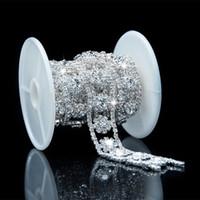 Wholesale Yard Silver Clear Crystal Rhinestone Crystal Chain Bridal Dress Costume Trim