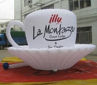 advertising coffee cups - 2 mH white nice inflatable advertising coffee cup for sale