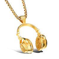 angels headphones - Gold Black Steel Plated Fashion Headphone Necklace For Men Jewelry Stainless Steel Vintage Pendants Necklaces Jewelry DGX1100