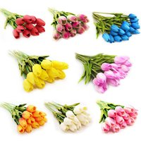 latex flowers - 12pcs NEW Beautiful Fashion Tulip Artificial Flower Latex Wedding Bouquet Home Garden Decor Multicolor EQC974