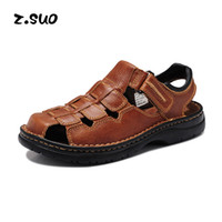 beach comfort - Real Leather Big Size Men Summer Sandals Fisherman Shoes For Men s Brand Designer Stylish Comfort Seaside Beach Flats