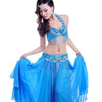belly dancer belt - 2016 New Women Bollywood Dance Costumes Bra Belt Skirt Embroidery Indian Dance Costumes Performent Stage Belly Dancer Wear