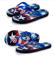 america slippers - Fashion child slippers flip Captain America cartoon slippers slip resistant breathable children sandals and slippers Shoes