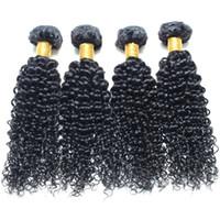 4 piezas de pelo rizado del pelo malasio lía 100% sin transformar Virgen del pelo humano del color natural puede ser teñido y blanqueado envío libre