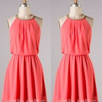 Wholesale Real Image Coral Chiffon Jewel Short Homecoming Dresses Cheap Beaded Ruched Above Knee Length Mini Prom Dress Custom Made EN101812